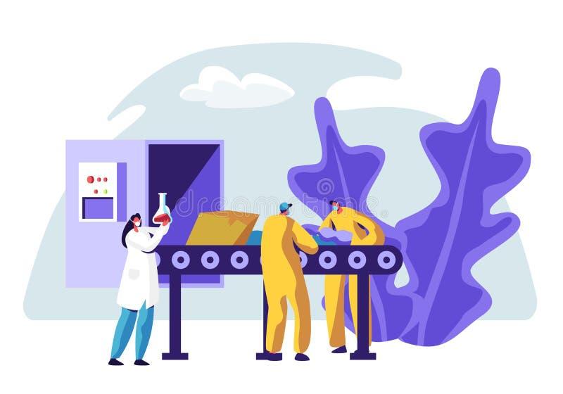 A linha de produção da fábrica do lixo recicla a classificação do lixo Processo de reciclagem industrial do serviço Trabalhador d ilustração stock