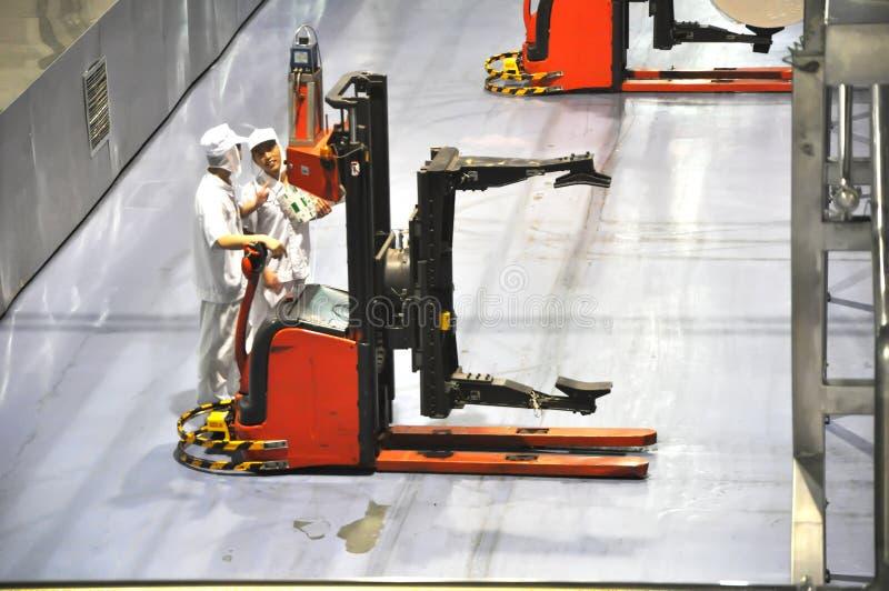 Linha de produção da leiteria de China Mengniu fotografia de stock