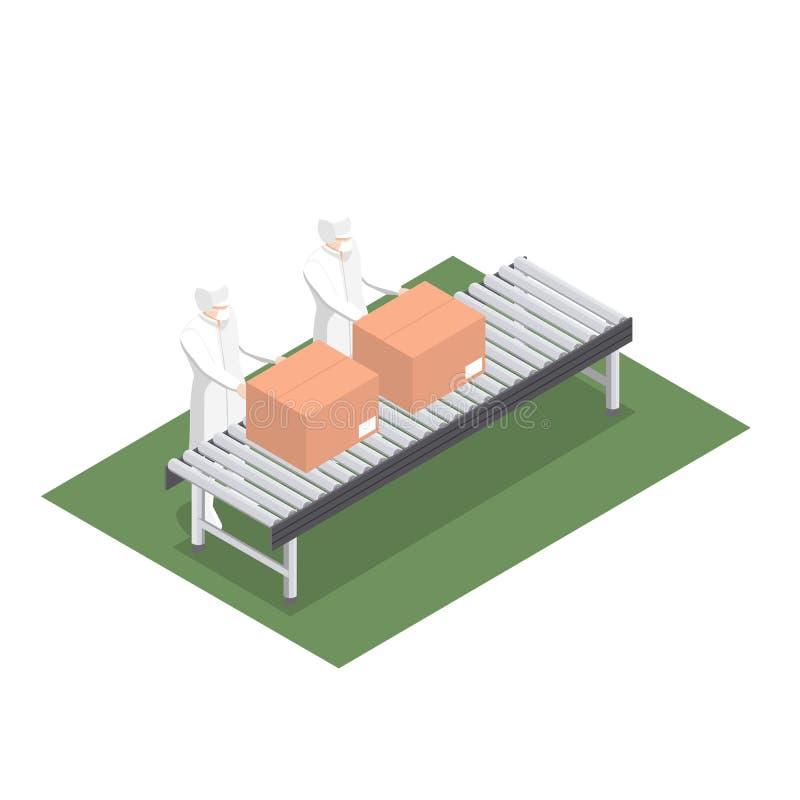 Linha de produção para o produto que empacota na indústria alimentar com correia transportadora ilustração do vetor