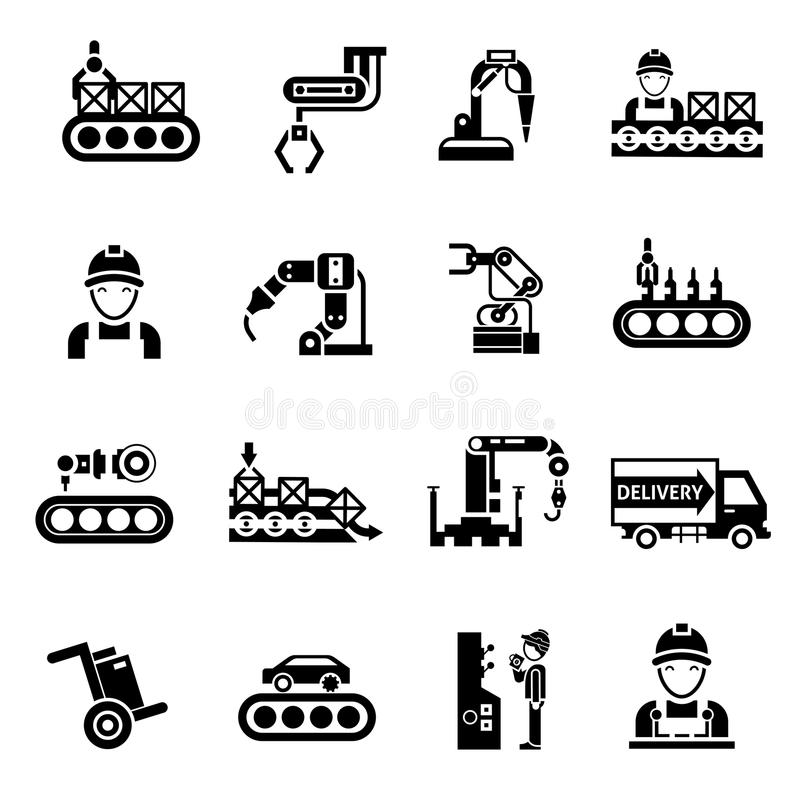 Linha de produção preto dos ícones ilustração do vetor