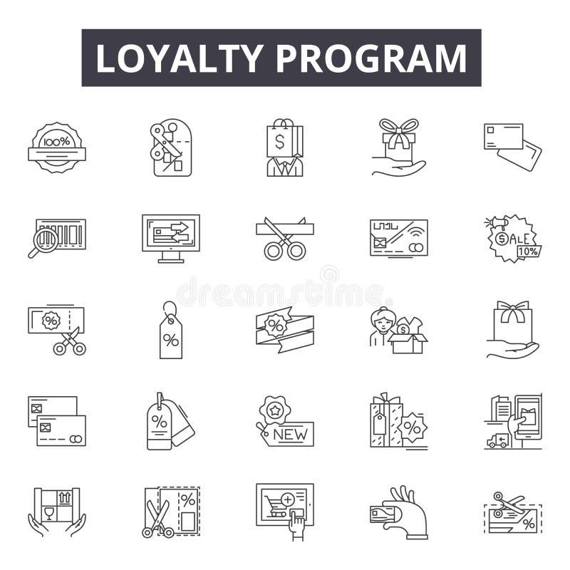 Linha de programa ícones da lealdade, sinais, grupo do vetor, conceito da ilustração do esboço ilustração royalty free
