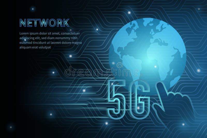 linha de quadro global fundo futurista da cruz da geometria da terra da tecnologia 5G do molde da ilustração do vetor com ponto d ilustração do vetor