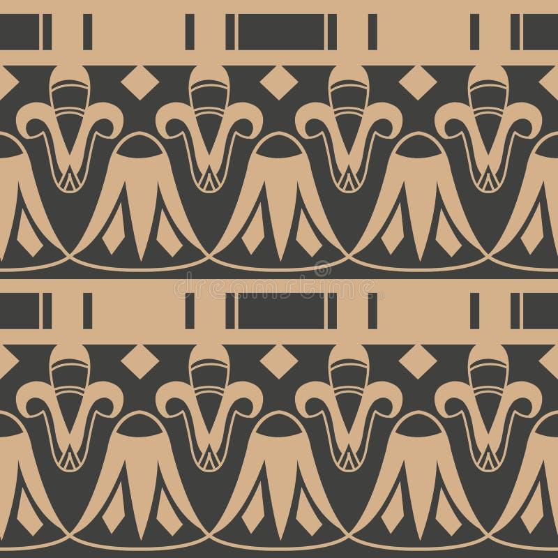 Linha de quadro retro sem emenda planta da geometria do jardim botânico da cruz da curva do fundo do teste padrão do damasco do v ilustração royalty free