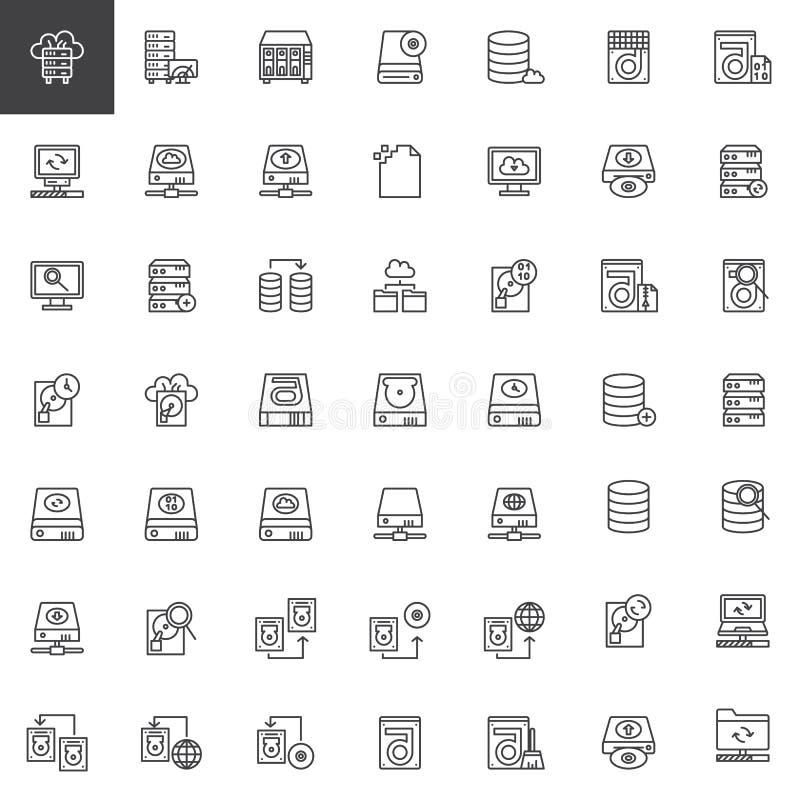 Linha de recuperação ícones dos dados ajustados ilustração royalty free