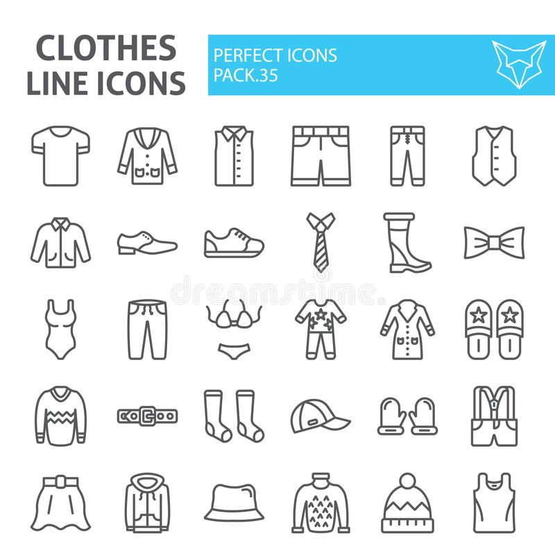 A linha de roupa grupo do ícone, símbolos coleção da roupa, esboços do vetor, ilustrações do logotipo, veste pictograma lineares  ilustração stock