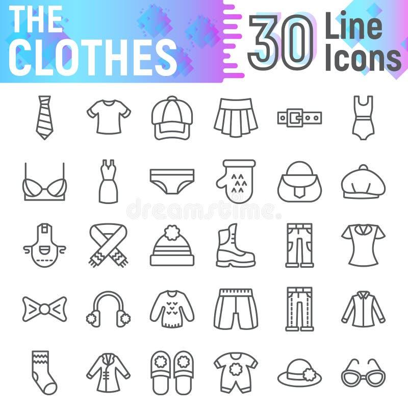 Linha de roupa grupo do ícone, símbolos coleção de pano, esboços do vetor, ilustrações do logotipo, pictograma lineares dos sinai ilustração stock