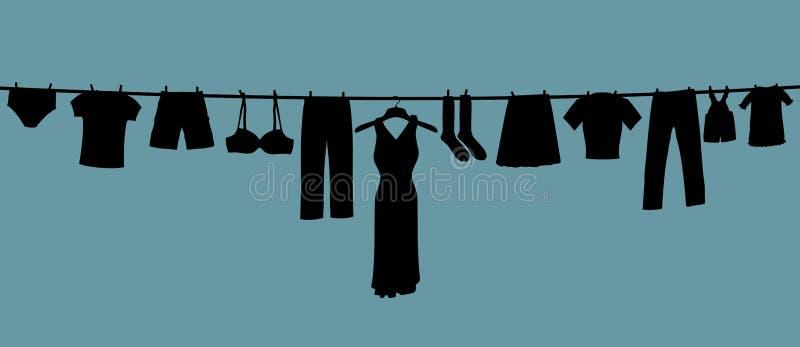 Linha de roupa longa ilustração royalty free
