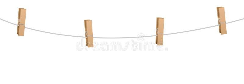 Linha de roupa de madeira corda dos Pegs dos pinos de roupa quatro ilustração royalty free
