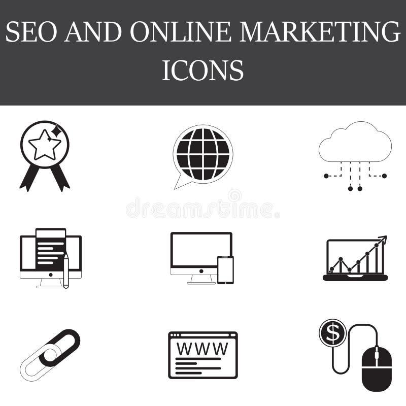 A linha de SEO e de Internet e os ícones completos vect ajustam-se, dos esboços e dos sólidos ilustração do vetor