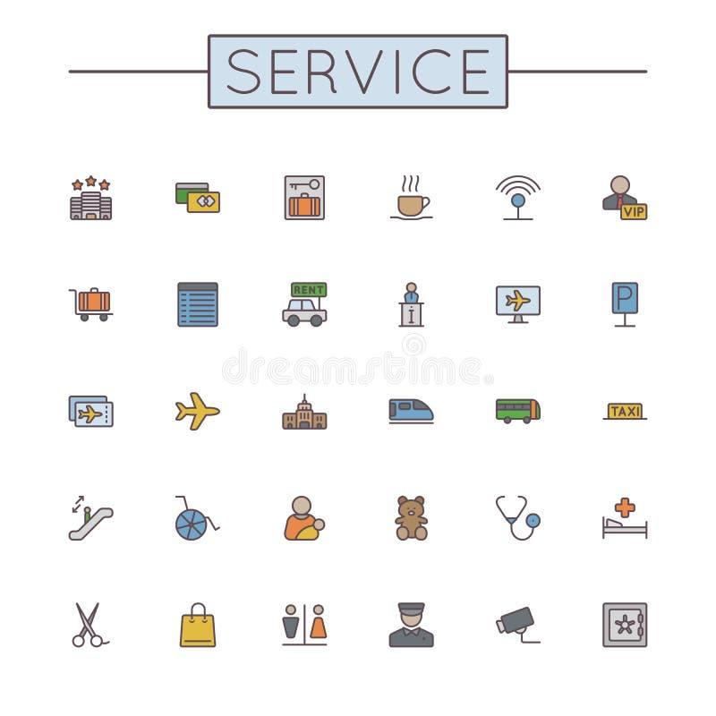 Linha de serviço colorida vetor ícones ilustração do vetor