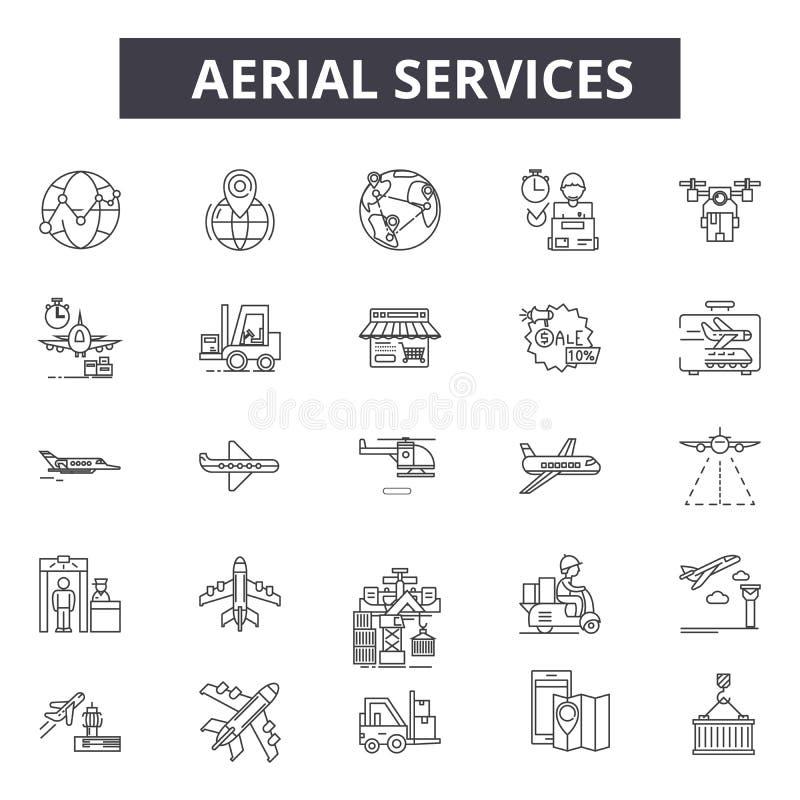Linha de serviços aérea ícones Sinais editáveis do curso Ícones do conceito: transporte, trandport industrial, aeroporto, portado ilustração royalty free