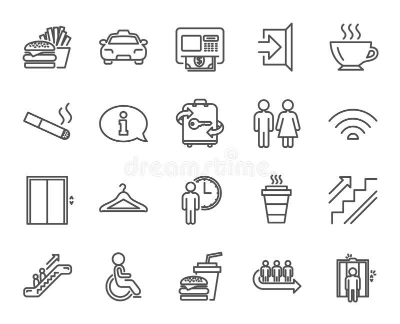 Linha de serviços públicos ícones Elevador, vestiário ilustração stock
