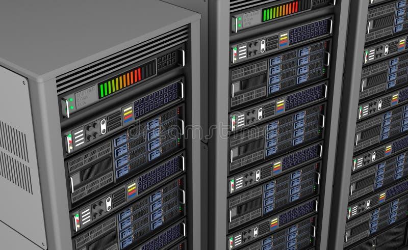 Linha de servidores de rede no data center isolada em segundo plano branco ilustração do vetor