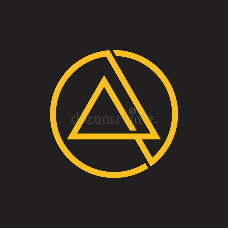 Linha de sobreposição abstrata logotipo do círculo do triângulo ilustração stock