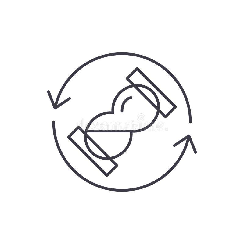 Linha de tempo conceito da espera do ícone Ilustração linear do vetor do tempo de espera, símbolo, sinal ilustração royalty free