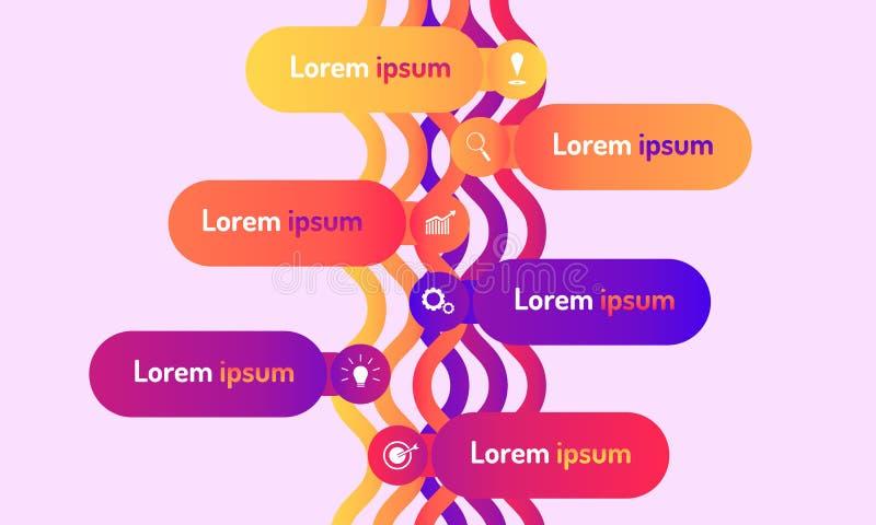 A linha de tempo estilo infographic da onda do projeto moderno dos dados com gráfico do markpoint pensa ícones do alvo da engrena ilustração stock