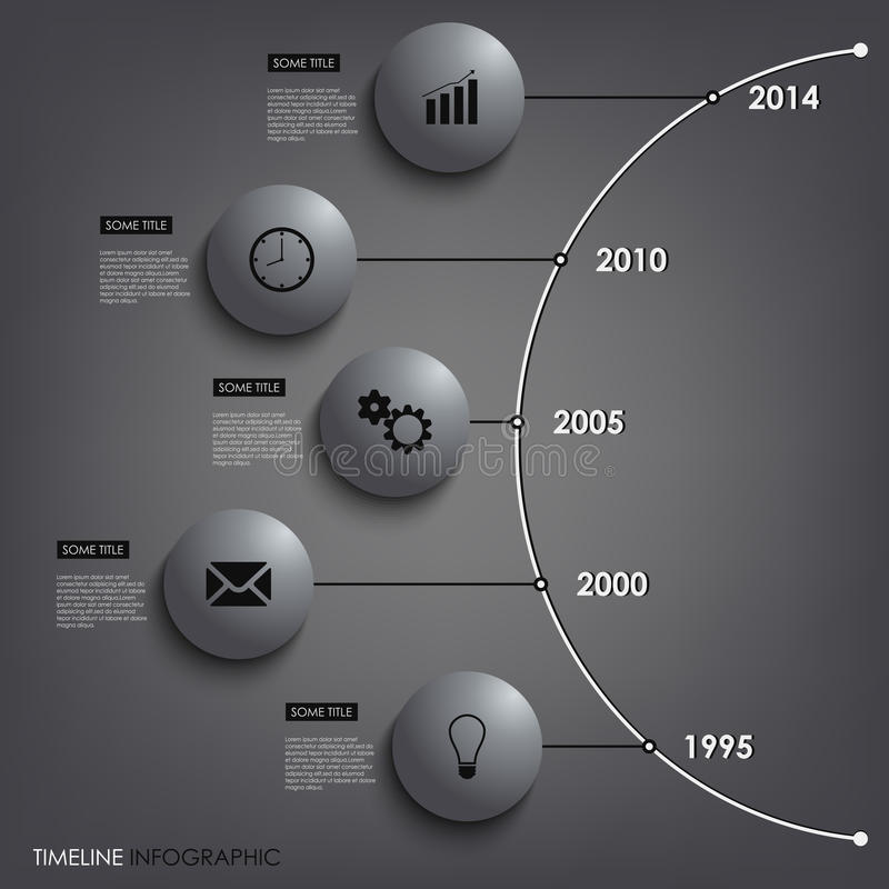 Linha de tempo gráfica temp redondo da informação abstrata do elemento ilustração stock