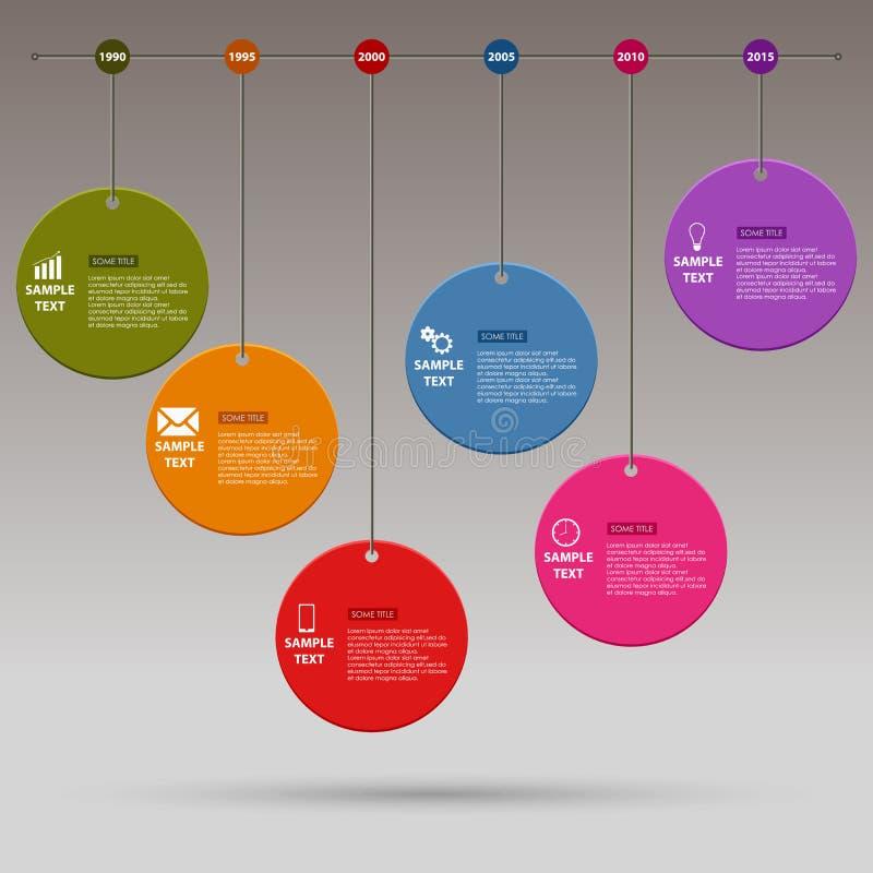 A linha de tempo gráfico da informação coloriu em volta do molde do projeto ilustração royalty free