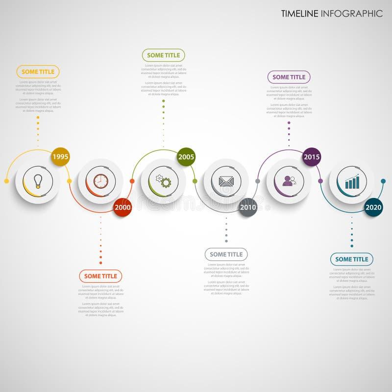 Linha de tempo gráfico da informação com etiquetas da linha central e da circular do comprimento de onda ilustração royalty free