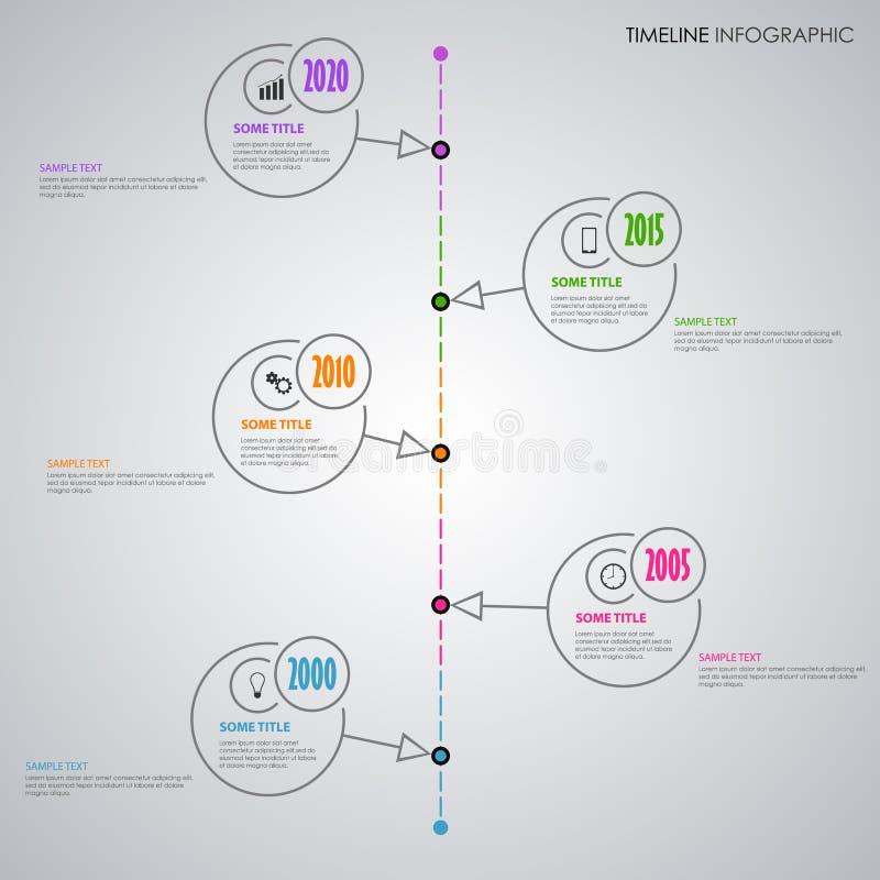 Linha de tempo gráfico da informação com linha fina ponteiros da circular ilustração do vetor