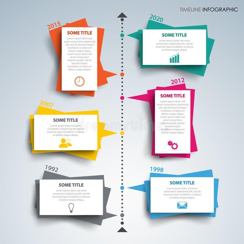 A linha de tempo gráfico da informação com papel coloriu o projeto das etiquetas ilustração royalty free