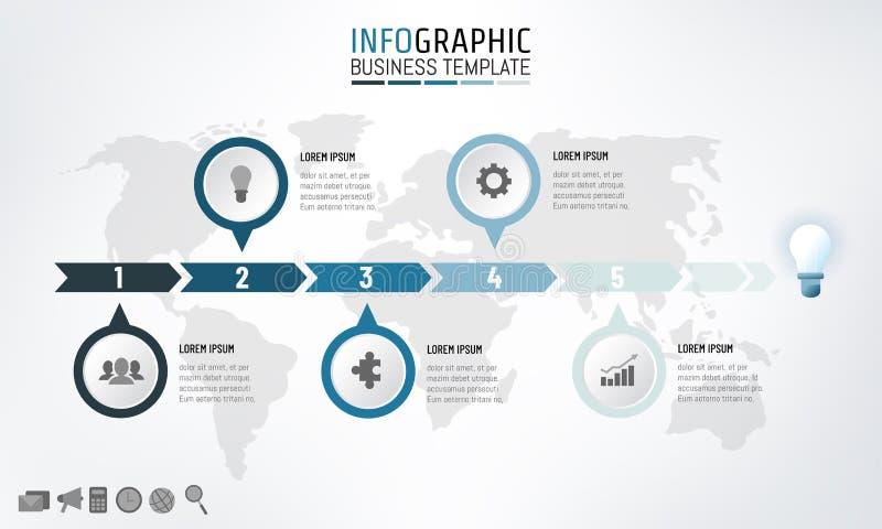 Linha de tempo molde do negócio do infographics com 5 opções Ilustração do vetor ilustração do vetor