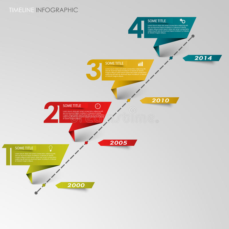 Linha de tempo papel dobrado colorido gráfico da informação ilustração stock