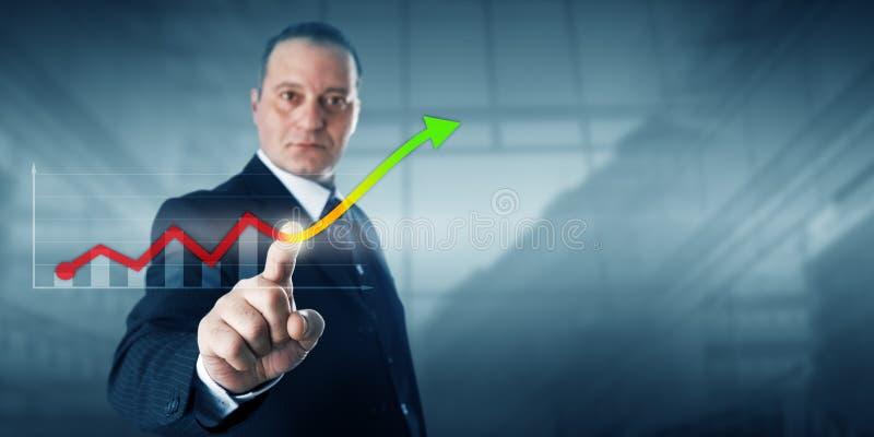 Linha de tendência de Touching Virtual Growth do empresário imagens de stock