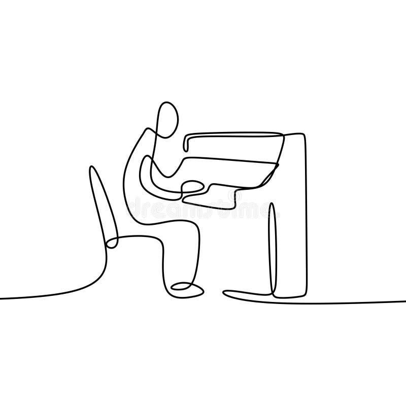 Linha de tiragem contínua que joga o piano ilustração royalty free