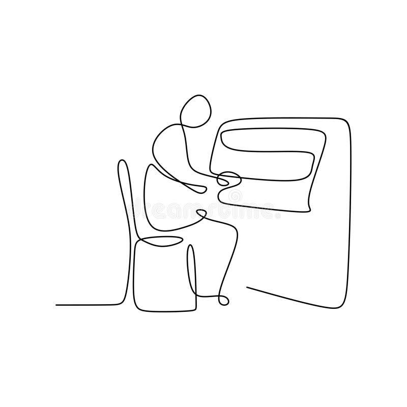 Linha de tiragem contínua que joga o piano ilustração stock