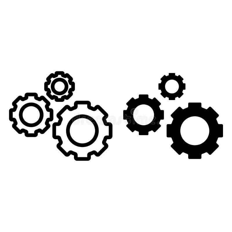 Linha de três engrenagens e ícone do glyph Ilustração do vetor das rodas denteadas isolada no branco Projeto do estilo do esboço  ilustração do vetor