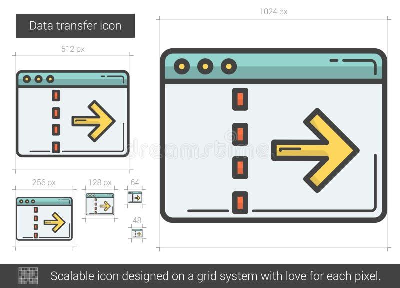 Linha de transferência ícone dos dados ilustração stock