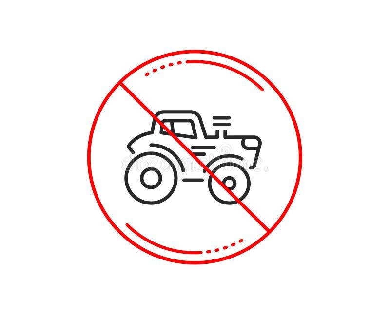 Linha de transporte ícone do trator Sinal do veículo da exploração agrícola da agricultura Vetor ilustração stock