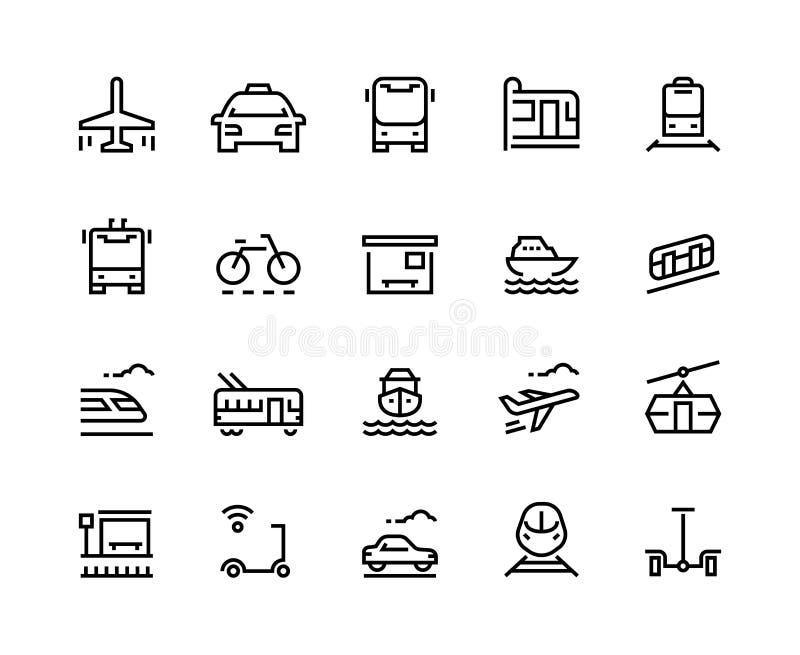 Linha de transporte ícones Curso público da cidade do trole do serviço do táxi do veículo do barco do bonde do trem do avião do c ilustração stock