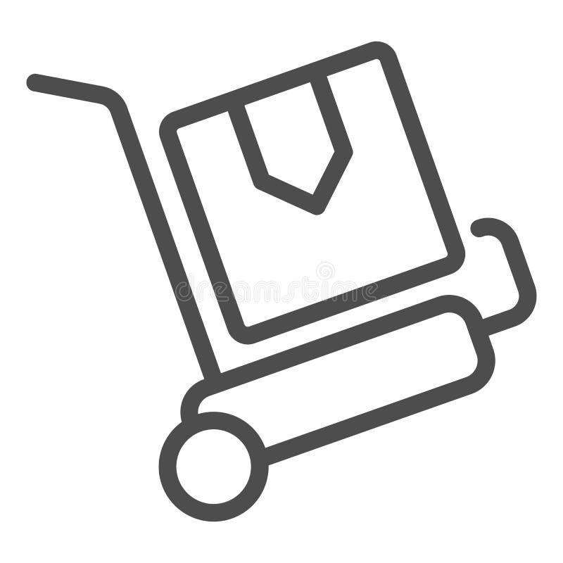 Linha de trole ícone da entrega dos pacotes Ilustra??o do vetor do carro da carga isolada no branco Projeto do estilo do esboço d ilustração stock