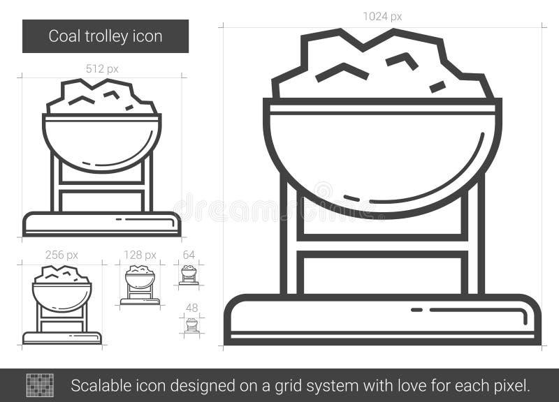 Linha de trole ícone de carvão ilustração stock