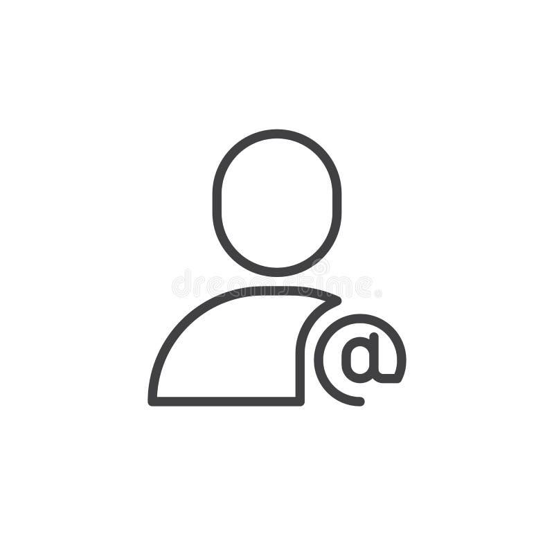 Linha de usuário ícone do email ilustração stock