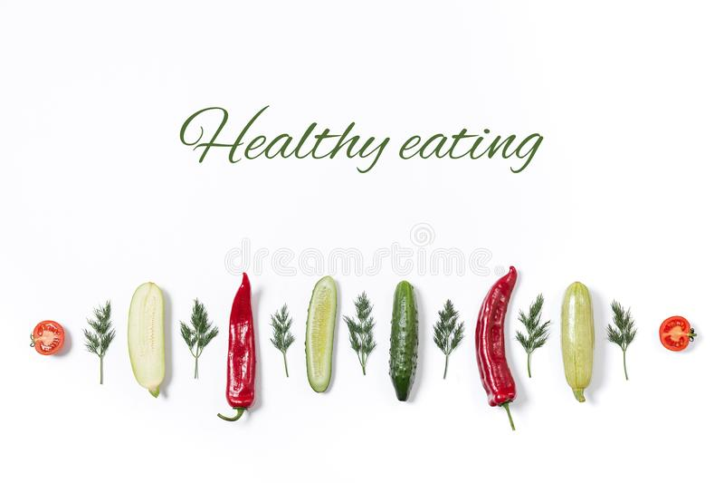 Linha de vários vegetais e frutos foto de stock