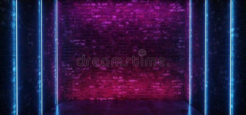 Linha de vertical concreta de incandescência cor-de-rosa azul do néon do assoalho das luzes do roxo vazio futurista moderno escur ilustração do vetor
