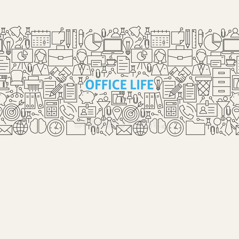 Linha de vida Art Seamless Web Banner do escritório para negócios ilustração do vetor