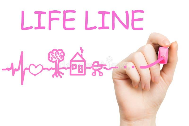 Linha de vida, marcador cor-de-rosa fotografia de stock royalty free