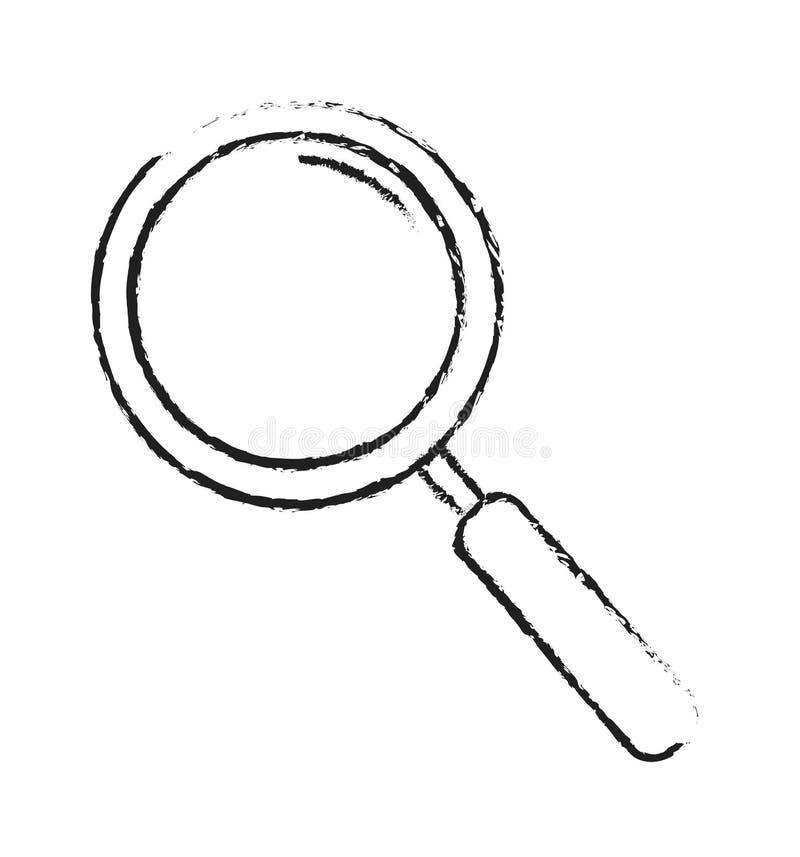 Linha de vidro de ampliação sinal tirado mão do esboço do vetor do esboço do ícone isolado no branco ilustração do vetor