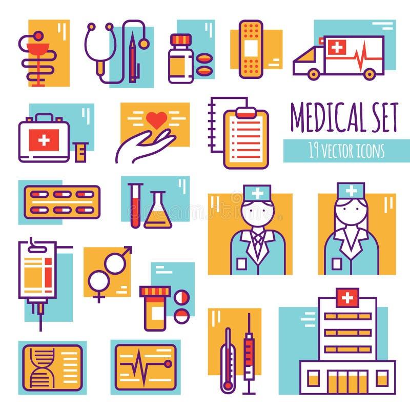 Linha decorativa médica ícones ajustados ilustração do vetor