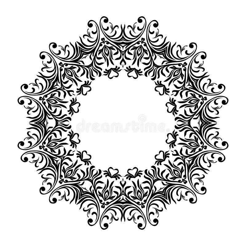 Linha decorativa quadros da arte para o molde do projeto Elemento elegante para o projeto no estilo oriental, lugar para o texto  ilustração do vetor