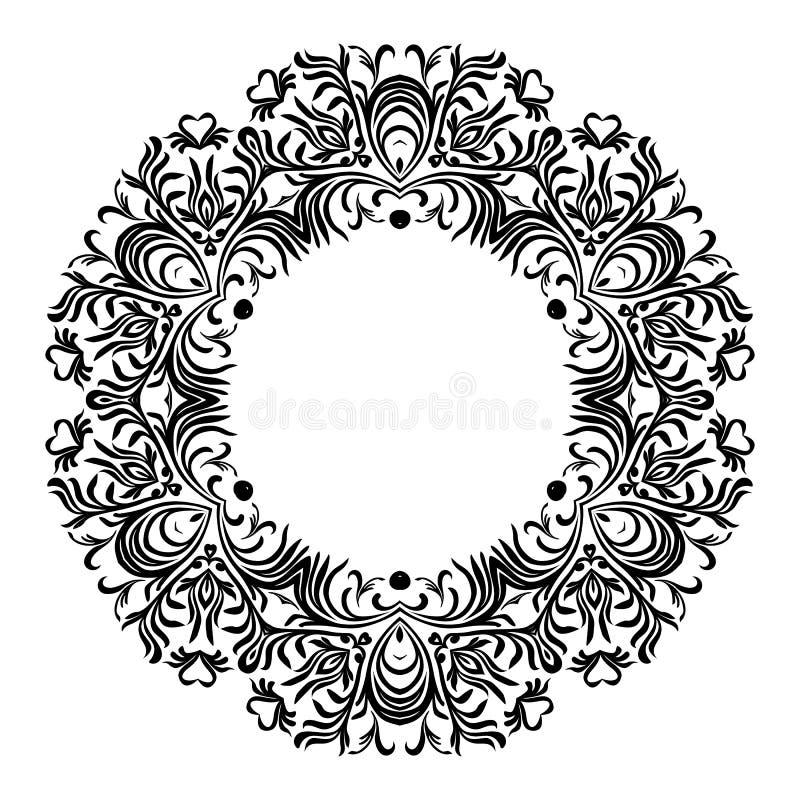 Linha decorativa quadros da arte para o molde do projeto Elemento elegante para o projeto no estilo oriental, lugar para o texto  ilustração stock
