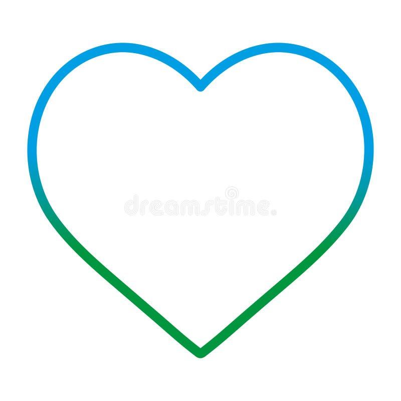 Linha degradada símbolo do amor da forma do coração da beleza ilustração do vetor