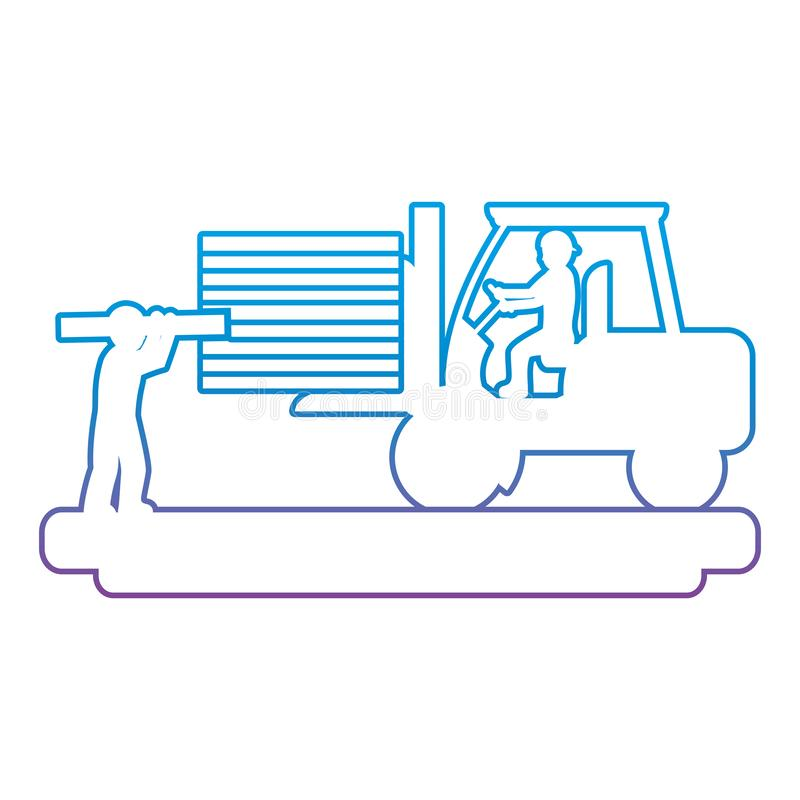 Linha degradada trabalhadores com empilhadeira da construção e equipamento da indústria ilustração royalty free