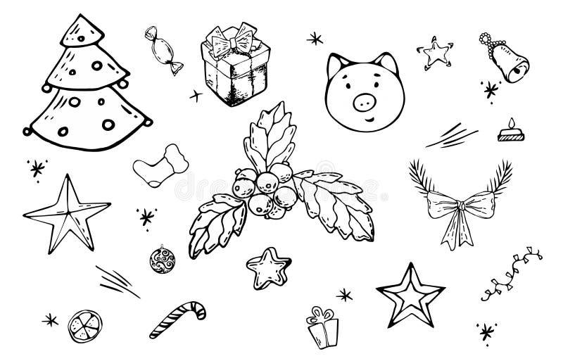 Linha desenhado à mão ícones e decorações do Natal no fundo branco Ícones ajustados do vetor com símbolos do Natal e objetos para ilustração royalty free