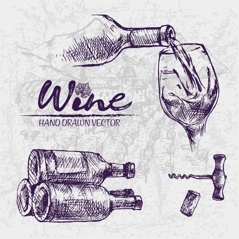 Linha detalhada vinho da cor de Digitas da arte ilustração do vetor