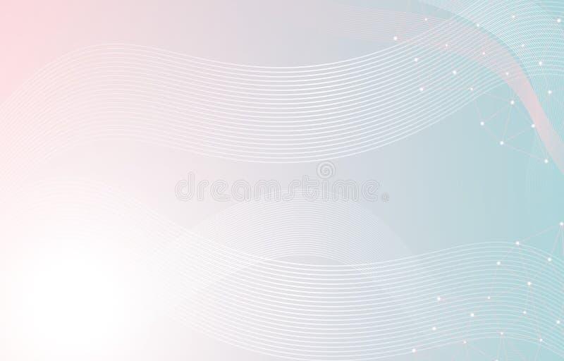 Linha dinâmica pastel macia composição abstrata da forma do fundo ondulado ilustração royalty free